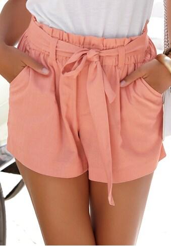 LASCANA Shorts, (mit Bindegürtel), im Paperbag-Stil aus Leinenmix kaufen