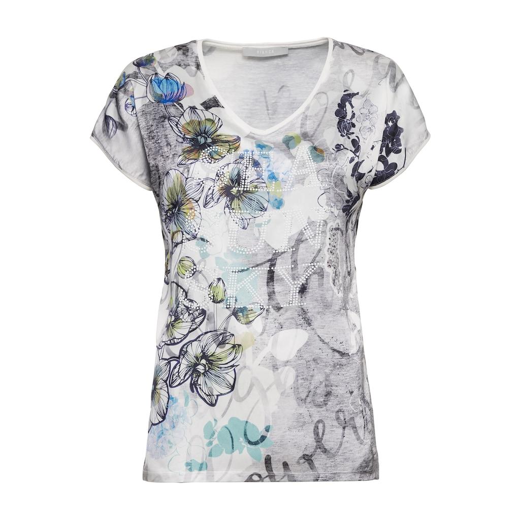 bianca Print-Shirt »EDIRA«, mit trendigem Blumenprint und Statement-Schriftzug