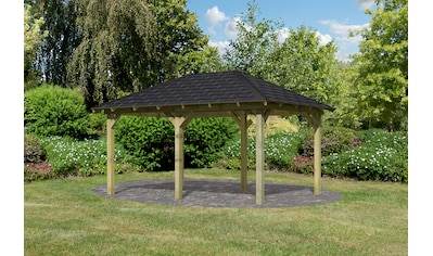 Karibu Pavillon »Perida«, (Set), BxTxH: 345x485x296 cm, mit schwarzen Dachschindeln kaufen