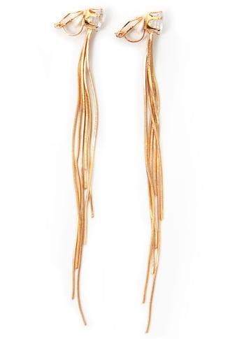 J.Jayz Paar Ohrclips »mehrreihig, elegant, vergoldet«, mit Glassteinen kaufen