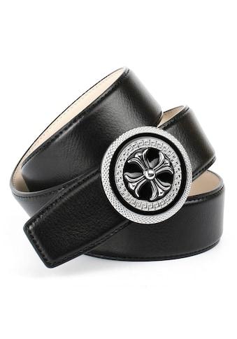 Anthoni Crown Ledergürtel, mit runder silberfarbener Schließe kaufen