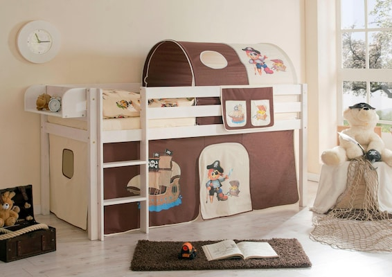 Spielbett mit Tunnel und Vorhang mit Piratenmotiv