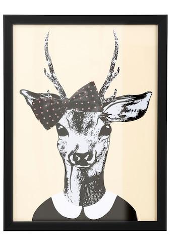G&C Kunstdruck »Reh-Frau in Spaziergang-Kleidung«, gerahmt kaufen