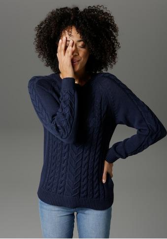 Aniston CASUAL Rundhalspullover, mit Zopfmustern verziert kaufen