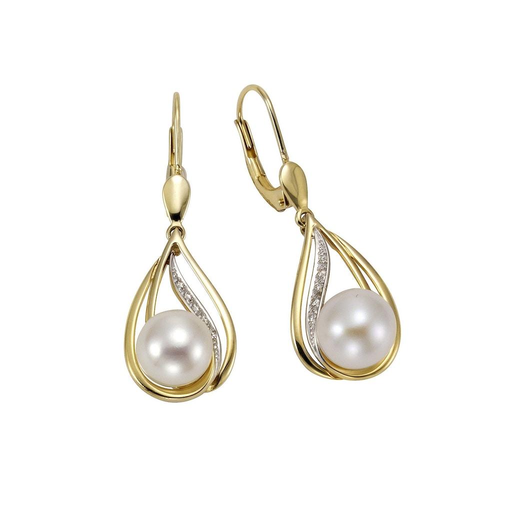 Orolino Ohrhänger 585/- Gelbgold Perlen Brillanten