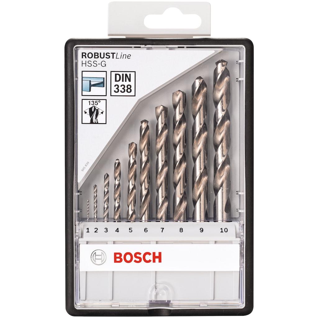 BOSCH Bohrersatz »Robust Line«, (Set, 10 tlg.), Metallbohrer HSS-G