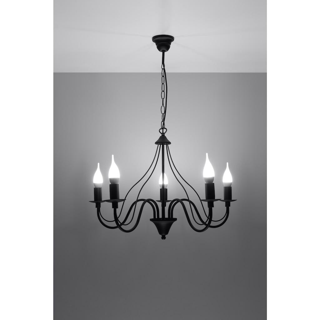 SOLLUX lighting Kronleuchter »MINERWA«, E14, 1 St., Hängeleuchte, Pendellampe, Pendelleuchte