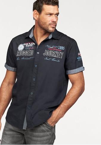 Man's World Kurzarmhemd, mit Print und Aufnähern kaufen