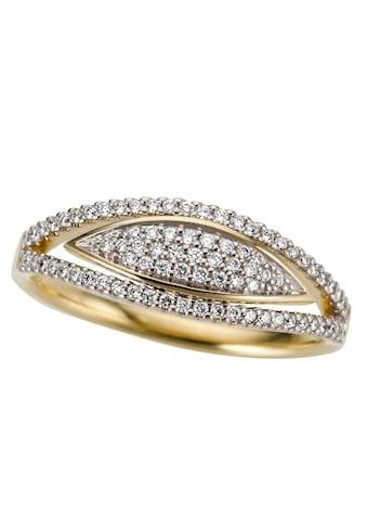 Firetti Fingerring »Teilweise mehrreihig, glanz, massiv«, mit Brillanten kaufen