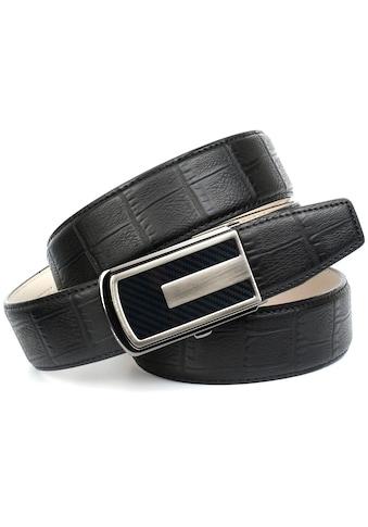 Anthoni Crown Ledergürtel, in Kroko-Design mit Karbon-Schließe kaufen