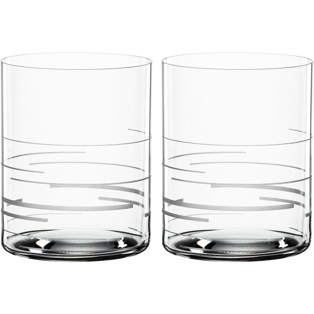 SPIEGELAU Whiskyglas »Lines«, (Set, 2 tlg.), Dekor graviert, 430 ml, 2-teilig