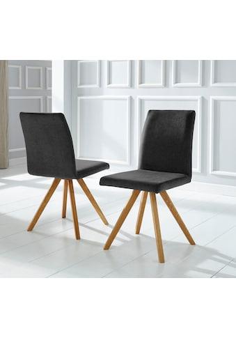Schalenstuhl »Rio«, (2 Stück) Bezug in Kunstleder oder Strukturstoff und das Gestell ist Eiche Massivholz geölt kaufen