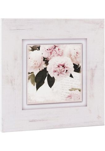 Home affaire Holzbild »Rosa Blumen«, 40/40 cm kaufen