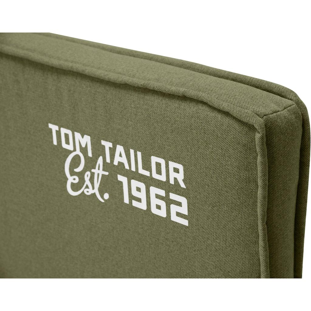 TOM TAILOR Boxspringbett »FLYING BOX«, in Schwebeoptik, kubisches Kopfteil mit TOM TAILOR Fashionprint, Höhe 118 cm