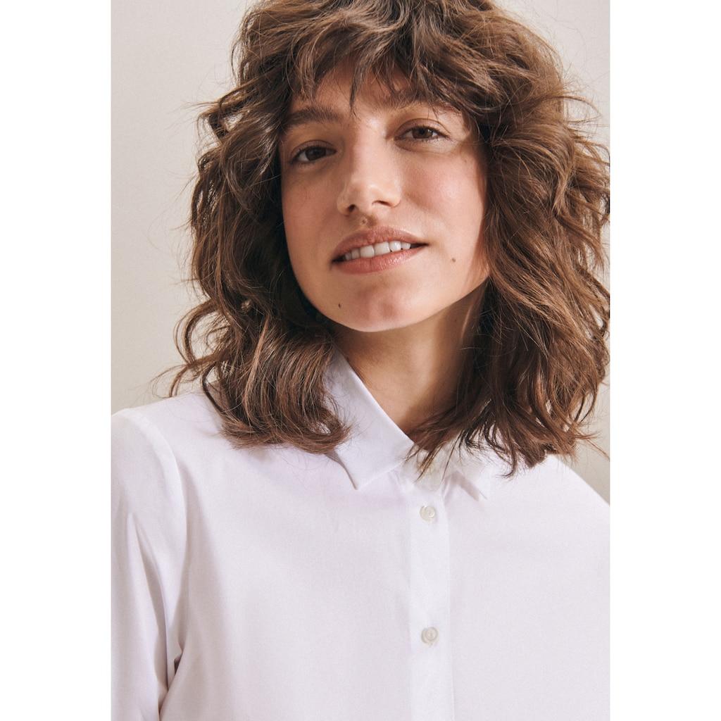 seidensticker Klassische Bluse »Schwarze Rose«, Langarm Kragen Uni