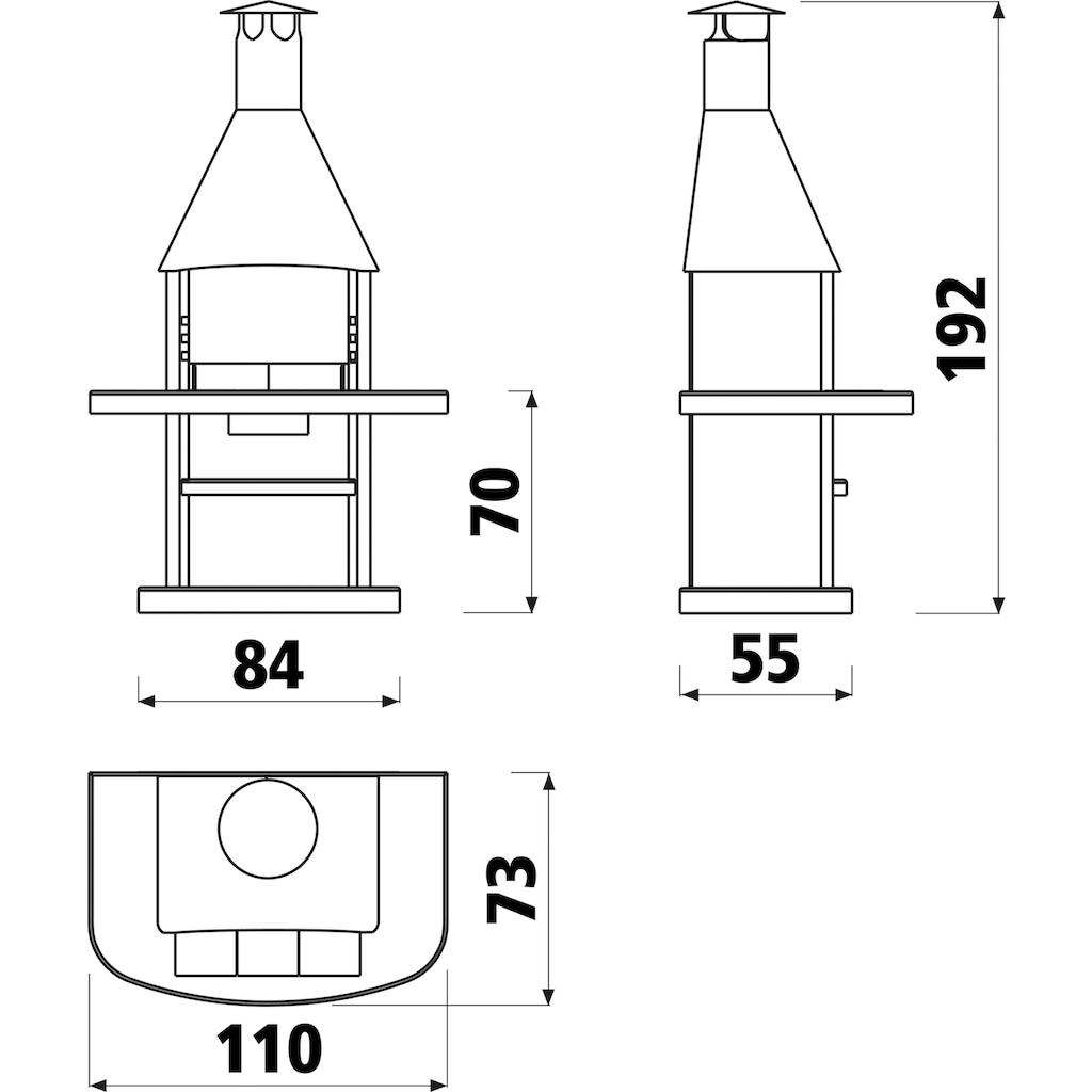 WELLFIRE Grillkamin »Avanta«, BxTxH: 110x73x192 cm