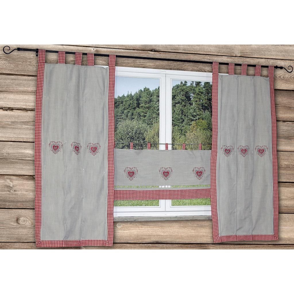 HOSSNER - ART OF HOME DECO Vorhang »HERZSEE«, bestickter Seitenschal mit Karo-Saum