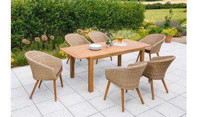 MERXX Gartenmöbelset »Arrone«, (7 tlg.), 6 Stühle und Tisch, mit Sitzpolstern kaufen