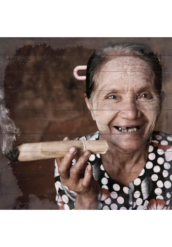 Home affaire Holzbild »Lachende Havanna Lady«, 40/40 cm kaufen