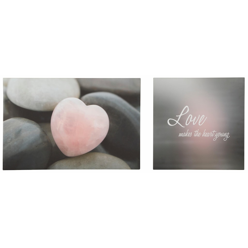 Home affaire Leinwandbild »Love makes the heart young«, (Set), Maße (B/H): 150/60 cm