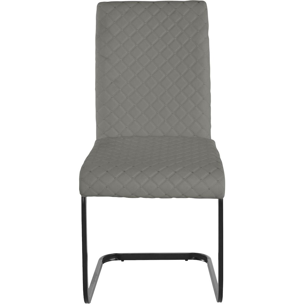 INOSIGN Esszimmerstuhl »Maila«, 2er Set, mit einem pflegeleichten Kunstleder Bezug, mit einem Kufengestell aus Metall, Sitzhöhe 48 cm