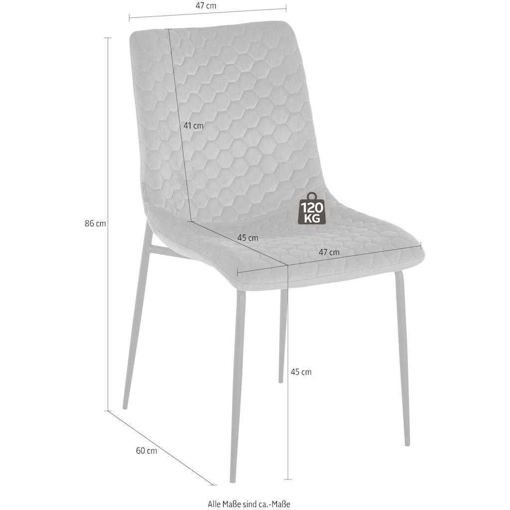 INOSIGN Esszimmerstuhl »Dounja«, 2er Set, mit weichem, pflegeleichtem Samtvelours Bezug, Sitzhöhe 45 cm