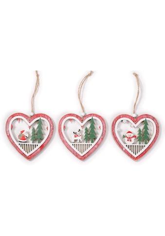CHRISTMAS GOODS by Inge Dekohänger »Herz«, aus Holz, 3-fach sortiert kaufen