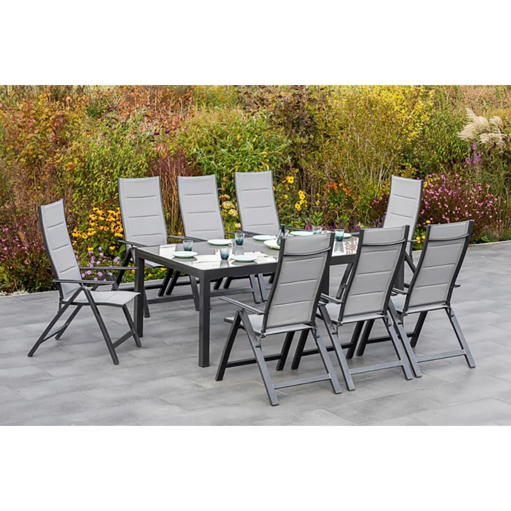 MERXX Gartenmöbelset »Florenz«, (9 tlg.), 8 Klappsessel, ausziehbarem Tisch