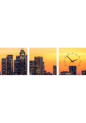 Conni Oberkircher´s Bild »Los Angeles Sunset«, Los Angeles, (Set), mit dekorativer Uhr kaufen