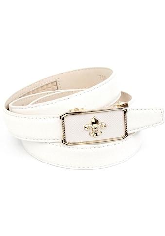 Anthoni Crown Ledergürtel, Ledergürtel mit filigraner Lilien-Schließe kaufen