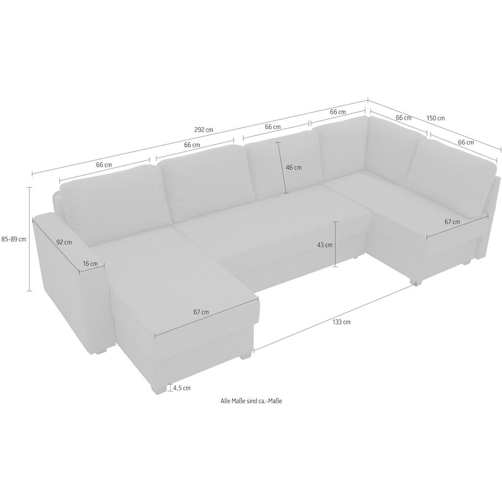 ATLANTIC home collection Wohnlandschaft, mit Bettfunktion, Federkernpolsterung, Bettkasten, Ecke und Longchair beidseitig montierbar