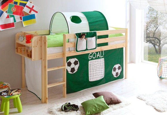 halbhohes Kinderbett mit Spieltunnel