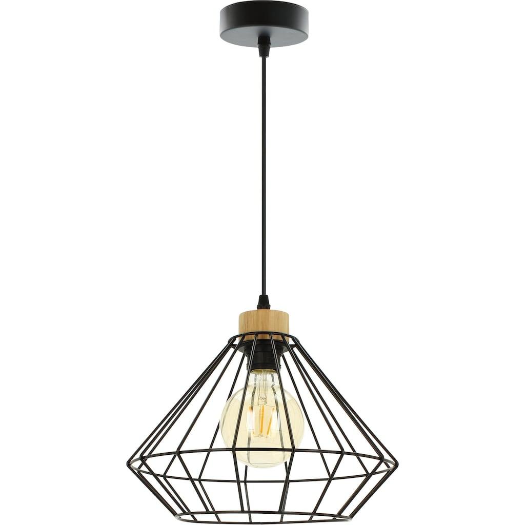 BRITOP LIGHTING Pendelleuchte »RAQUELLE«, E27, Hängeleuchte, Originelle Leuchte aus Metall und Eichenholz, Passend LM E27, Kabel kürzbar, Made in Europe