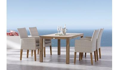 BEST Gartenmöbelset »Alicante/Moretti«, 9 - tlg., 4 Sessel, Tisch 160x90 cm, Teak, inkl. Auflage kaufen