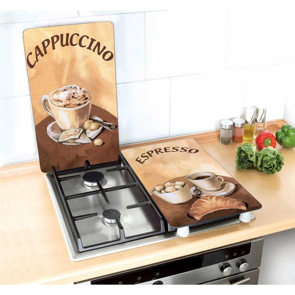 WENKO Herd-Abdeckplatte »Kaffee«, (Set, 2 tlg.), kratzfest