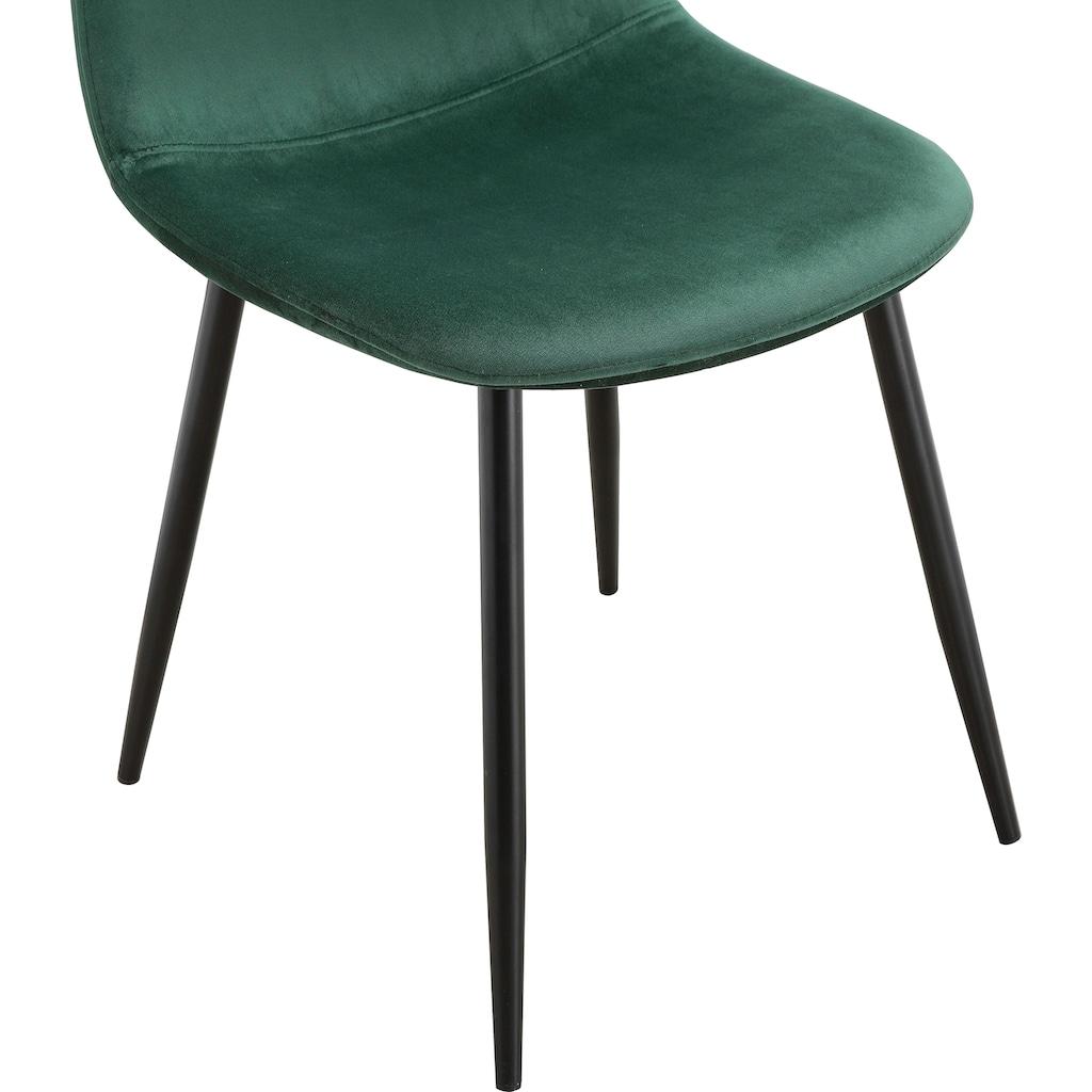 Leonique Esszimmerstuhl »Eadwine«, Polsterstuhl mit Metallgestell, im 2er und 4er Set erhältlich, Beine in schwarz oder eichefarben