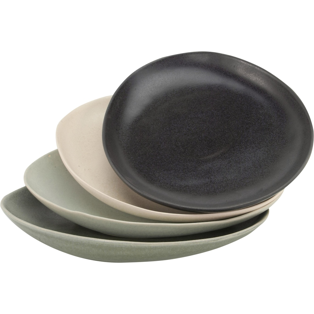 CreaTable Speiseteller »Pietra«, (Set, 4 St.), Steinzeug, jedes Stück ein Unikat
