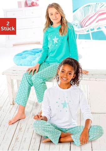 petite fleur Pyjama, (2 tlg., 2 Stück), in langer Form mit Sternen Print kaufen
