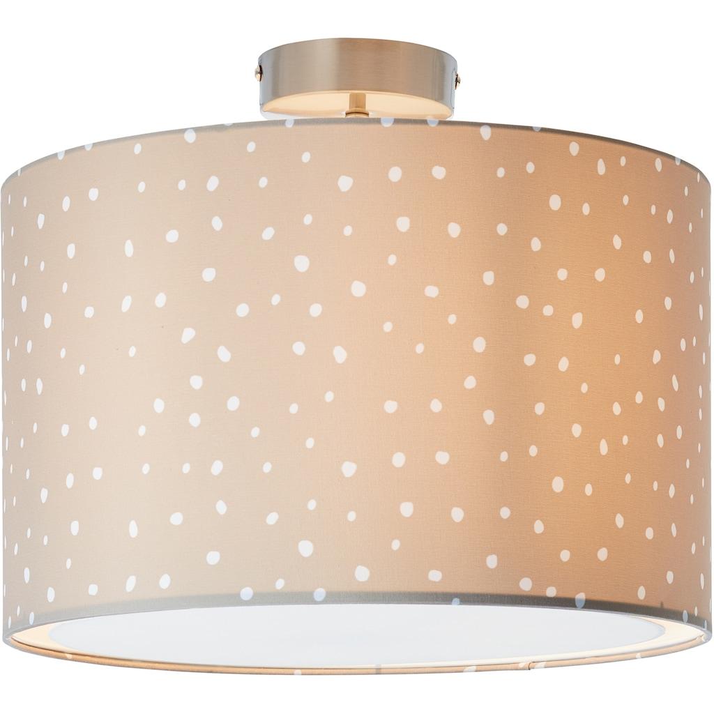 Lüttenhütt Deckenleuchte »Prick«, E27, Deckenlampe mit Stoffschirm Ø 40 cm, grau / weiß, gepunktet / gesprenkelt, Höhe 32 cm