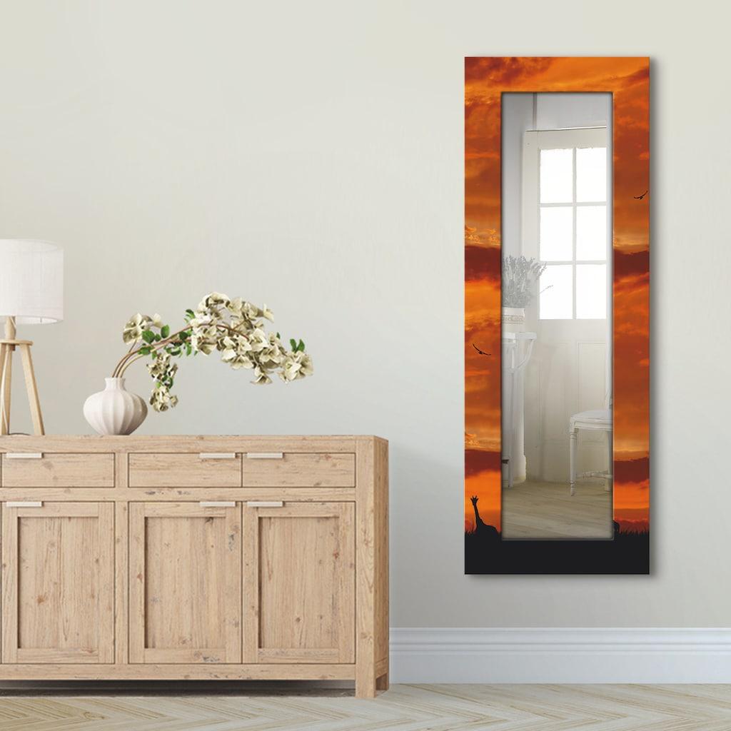 Artland Wandspiegel »Herde von Giraffen im Sonnenuntergang«, gerahmter Ganzkörperspiegel mit Motivrahmen, geeignet für kleinen, schmalen Flur, Flurspiegel, Mirror Spiegel gerahmt zum Aufhängen