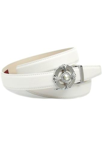 Anthoni Crown Ledergürtel, Femininer Ledergürtel in weiß mit runder Schließe kaufen