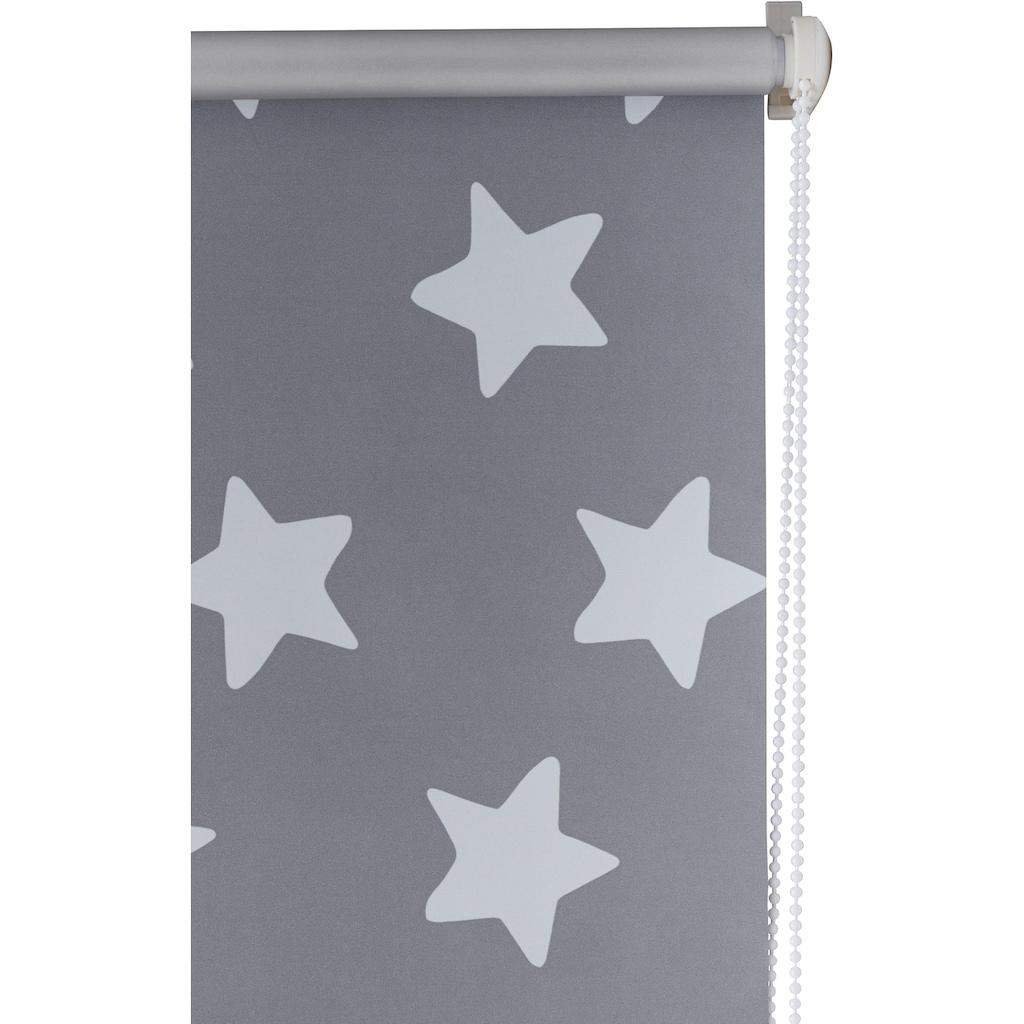 Lüttenhütt Seitenzugrollo »Stern«, verdunkelnd, energiesparend, ohne Bohren, freihängend, Kinderrollo im Fixmaß
