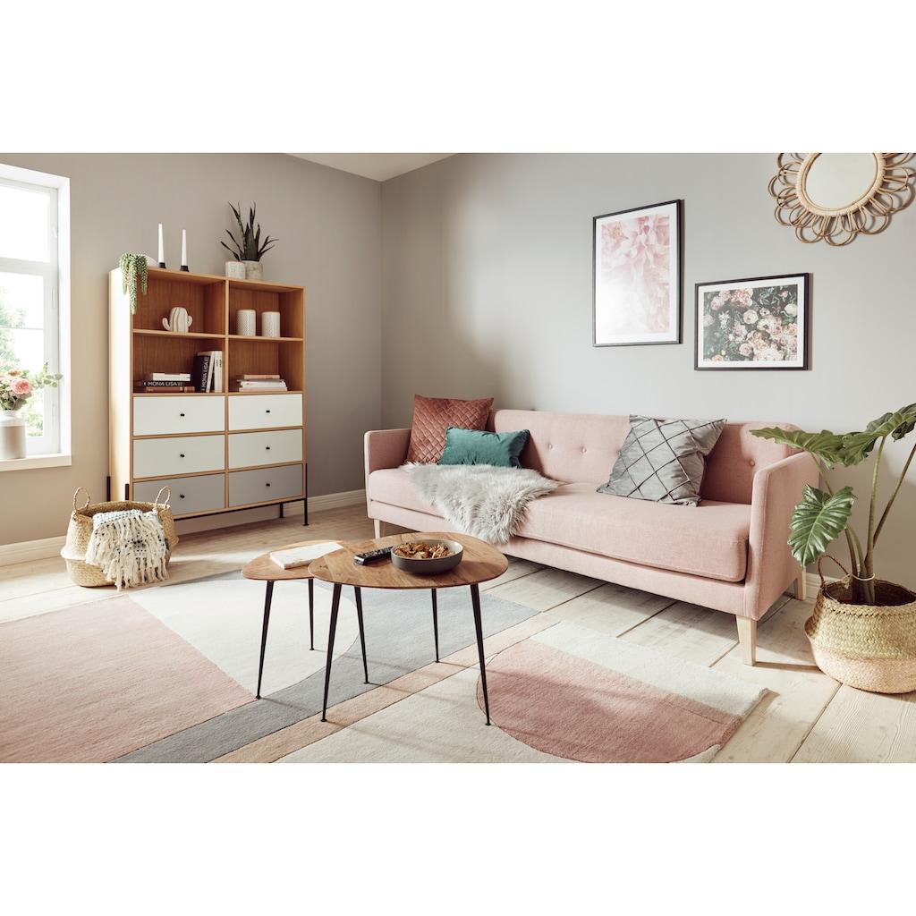 OTTO products Regal »Ellen«, aus furnierter Eiche, mit vier offenen Fächern und vier Schubladen, mit 4-Fuß-Gestell