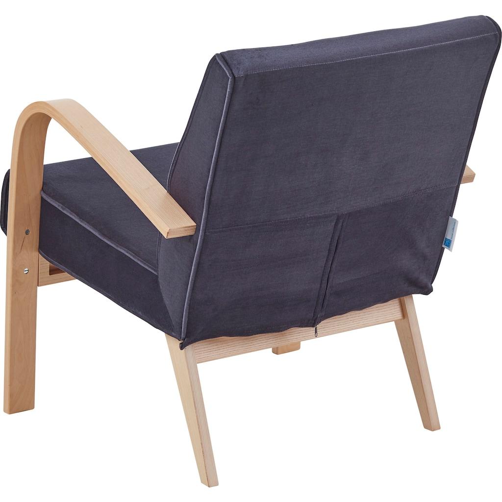ATLANTIC home collection Loungesessel »Vinny«, Retro -Sessel in Samtvelours, Naturholz-Furnier
