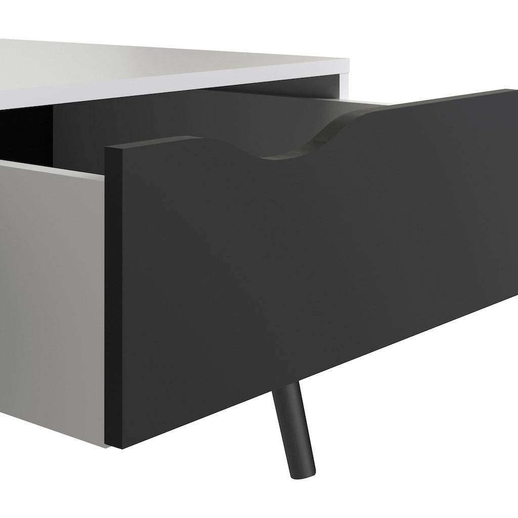 Home affaire Couchtisch »Oslo«, grifflose Schublade, zweifarbig, Made in Denmark, Offenes Ablagefach, Breite 98,7 cm