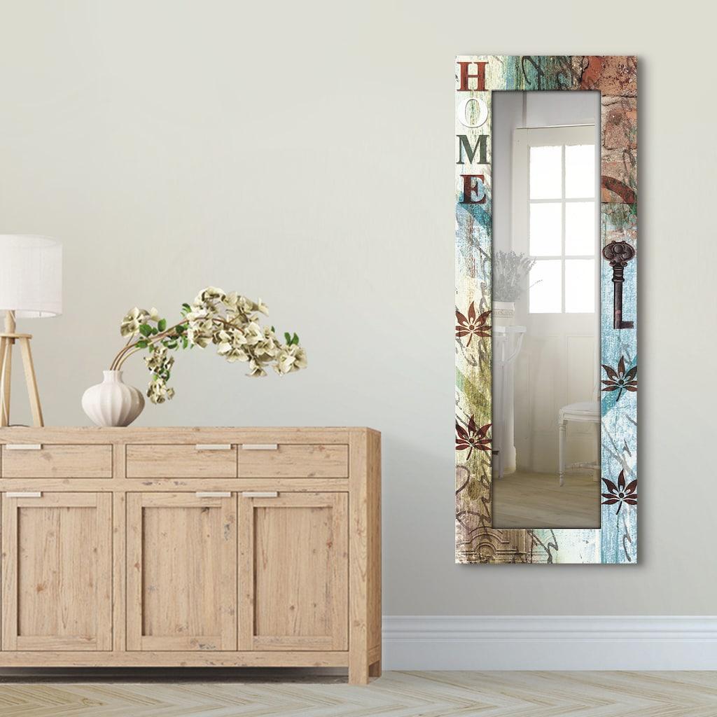 Artland Wandspiegel »Buntes zu Hause in taktvollen Farben«, gerahmter Ganzkörperspiegel mit Motivrahmen, geeignet für kleinen, schmalen Flur, Flurspiegel, Mirror Spiegel gerahmt zum Aufhängen