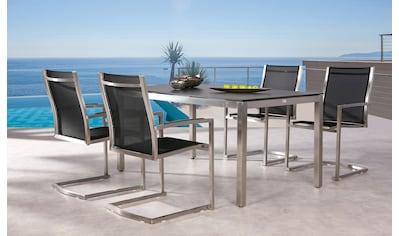 BEST Gartenmöbelset »Marbella«, 5 - tlg., 4 Freischwingsessel, Tisch 160x90 cm, Stah/Ergotex kaufen