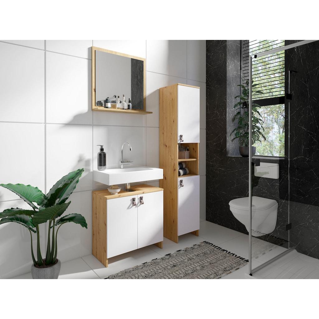 Homexperts Waschbeckenunterschrank »New Port«, Badezimmerschrank in skandinavischem Design mit stylischen Kunstledergriffen