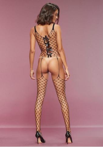 petite fleur gold Bodystocking, aus Maxi-Netz mit Zierschleifen kaufen