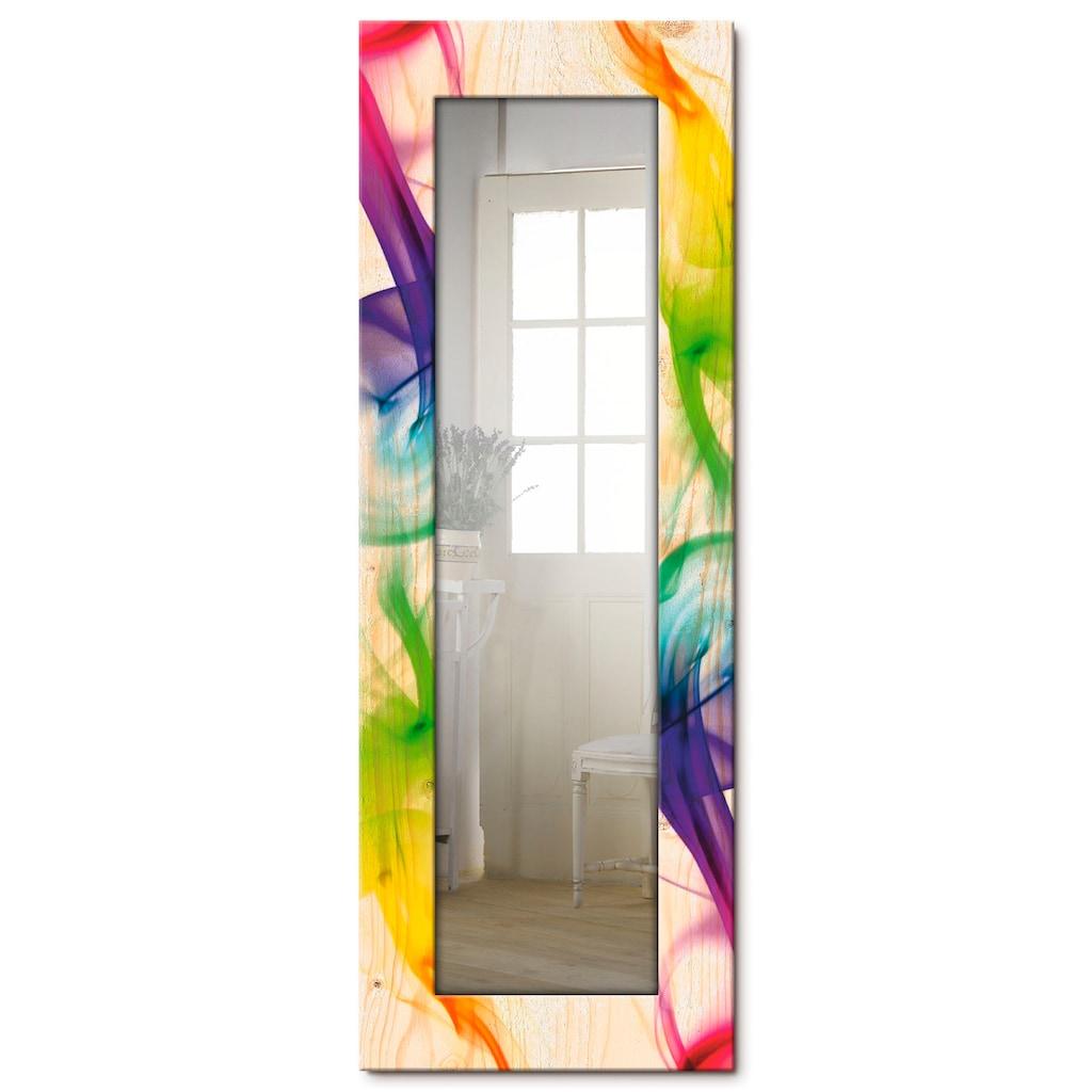 Artland Wandspiegel »Rauch - Abstrakt«, gerahmter Ganzkörperspiegel mit Motivrahmen, geeignet für kleinen, schmalen Flur, Flurspiegel, Mirror Spiegel gerahmt zum Aufhängen